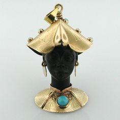 Blackamoor 18K Gold Jeweled Vintage Charm Pendant
