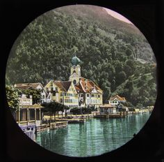 HAND COLOURED Glass Magic Lantern Slide GERSAU FROM THE PIER C1890 SWITZERLAND