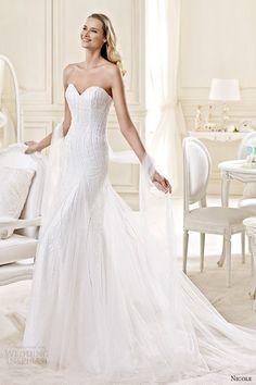 nicole spose bridal 2015 style 30 niab15097iv strapless sweetheart sheath train wedding dress