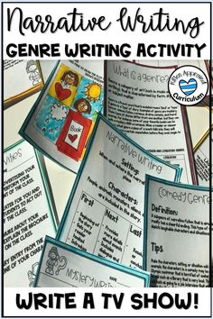 Fun narrative writing prompts for 3rd, 4th, 5th, and 6th grade students! Take your narrative writing lessons to the next level with this engaging activity. Teach genre writing with fun graphic organizers, students will write their own television show. Comes with narrative writing rubrics, extension activities for early finishers, and more! Perfect writing for home school students, gifted and talented classrooms, and end of the year. #narrativewriting Narrative Writing Prompts, Writing Lessons, Writing Skills, Writing Rubrics, Paragraph Writing, Opinion Writing, Persuasive Writing, 6th Grade Activities, Fun Writing Activities