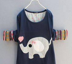 Vintage Folk Style Cute Elephant Bow Long-sleeved T-shirt |Sweaters & Cardigans - Clothing & Apparel|ByGoods.com