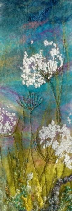 Cow Parsley, Caren Threlfall's Art Studio - felt - Home Wet Felting Projects, Felting Tutorials, Nuno Felting, Needle Felting, Fabric Art, Fabric Crafts, Felt Pictures, Landscape Quilts, Wool Art