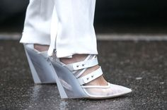 These white, strappy heels look amazing with those zip-embellished white trousers. Karl-Edwin Guerre  - MarieClaire.com