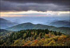 Blue Ridge Parkway Autumn Sunset NC - Boundless