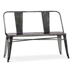 Bon An Easy Fit With Any Style, The Distressed Metal Dining Bench   Black   The