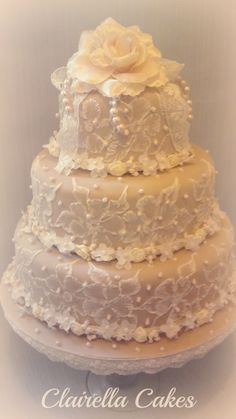 Vintage Lace Wedding Cake by Clairella Cakes