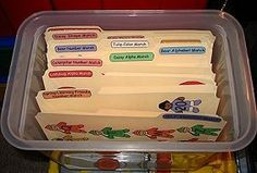 File Folder Games - I want to make lots and lots of file folder games to use in PreK. Click on 'Printable Activities' on the link. Awesome!!