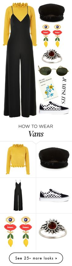 """Untitled #294"" by tulliahfaith on Polyvore featuring Norma Kamali, Vans, Tory Burch, Amber Sun, Ray-Ban, Simon & Schuster and jumpsuits"