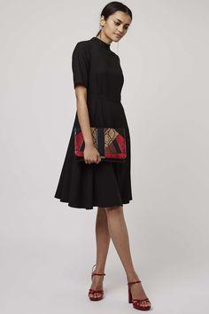 Funnel Neck Midi Dress