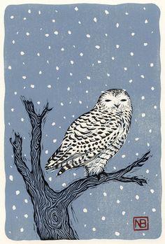 NEIL BRIGHAM - owl lino cut