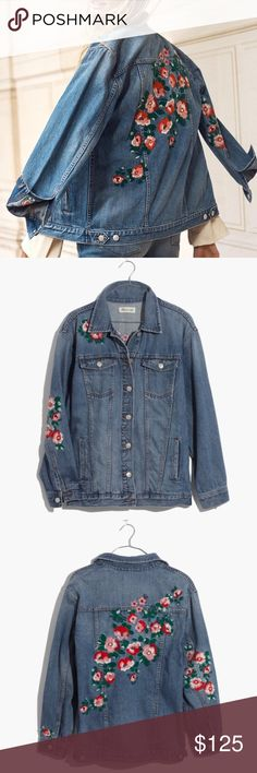 ✨Madewell Oversized Jean Jacket Embroidered Edt✨ PRODUCT DETAILS For a fresh take on our classic oversized fit, our design team imagined the kind of vintage jean jacket you might've *borrowed* from your dad's closet and then upgraded with your own embroidery. A worn-in indigo wash with had-it-forever distressing. Matte silver shank buttons, contrast stitching. Oversized fit. Machine wash. Madewell Jackets & Coats Jean Jackets
