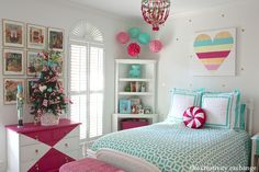 Love this girl's room-especially the painted dresser via The Creativity Exchange