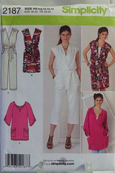 Simplicity 2187 Misses' Dress, Jumpsuit and Knit Tunic – Smiths Depot Sewing Pattern Superstore