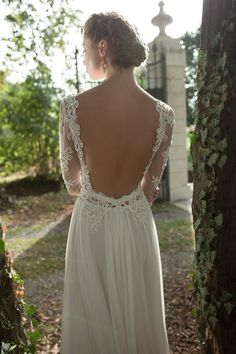 In love with the #bohochic details on this #whimsical gown {Berta Bridal}