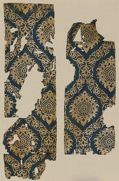 Textile Fragment with Ogival Pattern Date: 14th century Geography: Egypt or Syria Culture: Islamic Medium: Silk; lampas Accession Number: 46.156.17