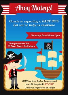 pirate baby shower invitations 2