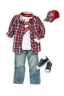 Heartbreaker  Hello Heartbreaker! He looks handsome in a plaid shirt, belted jeans and fun tee. Matching cap and sneakers are cool additions.