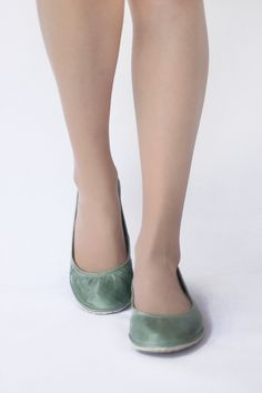 Except in nubuck black - The Drifter Leather handmade shoes — Ballet flats - Eko in Mint