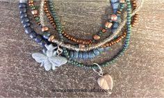 Blue Bumble Bee, Bronze and Earth Tone Stacking Bracelets
