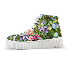 HUGSIDEA Lolita Style Women Skate Shoes Floral Print Shoes High Top Sneakers Flats US9 *** Continue to the product at the affiliate link Amazon.com.