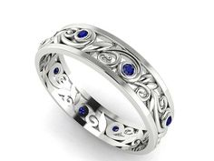 WEDDING RING FOR VALENTINE'S DAY Vine and leaves Wedding Band Natural Blue Sapphires by BridalRings