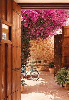 Patio interior desde la puerta. Bajo la sombra
