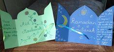 Cartes de vœux Ramadan et Aïd   Colorislam Eid Crafts, Ramadan Crafts, Ramadan Decorations, Diy And Crafts, Ramadan Activities, Montessori Activities, Origami Cards, Diy Origami, Eid Ramadan