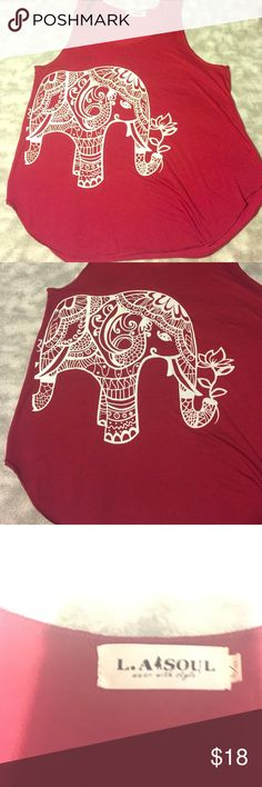 L.A Soul SZ L/XL red elephant tanktop BNWOT This is a brand new without tags LA soul dress with style top. It is a deep red and has a beautiful henna style elephant in white printed on the front. It is size L/XL and shows absolutely no signs of wear or flaws. L.A Soul  Tops Tank Tops