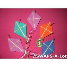 Girl Scout Swaps - Kites. Fun foam or stiff felt, toothpicks, curling ribbon (Cheap and fast!)