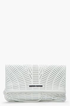 McQ by Alexander Mcqueen, ivory slashed leather foldover clutch