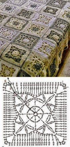 Manta realizada con grannys tejida con ganchillo