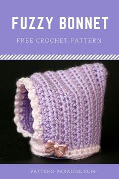 Free Crochet Pattern  Fuzzy Bonnet. Crochet Baby BeanieBaby Blanket ... 30c5ba322de3