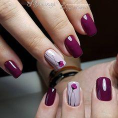 107 fall nail art ideas and autumn color combos to try on this season page 30 Chic Nails, Classy Nails, Stylish Nails, Nail Deco, Hair And Nails, My Nails, Pretty Nail Art, Fall Nail Art, Purple Nails