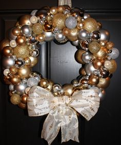 Ornament wreath... Buy a foam wreath, go to your local dollar tree buy ornament in your favorite colors, hot glue ornaments til covered and done!
