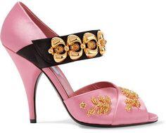 Prada - Embellished Satin Sandals - Pink