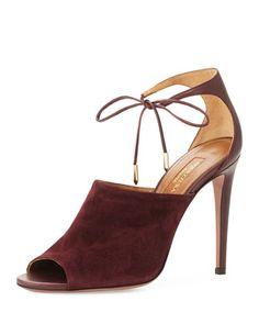 Estelle Ankle-Tie Sandal, Prune by Aquazzura at Neiman Marcus.