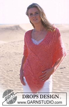 DROPS Poncho in Paris and Vivaldi ~ DROPS Design free KNIT pattern. This is stunning, thanks so xox