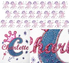 Applique letters with crowns and princess theme design 5x7 hoop digital instant download