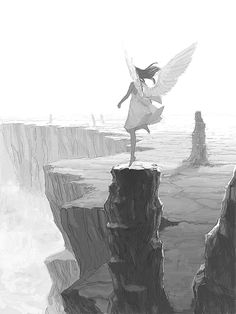 Imagen de angel, anime girl, and black and white