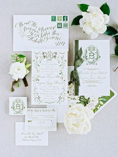 """A Timeless Affair at Pursell Farms With a Fresh Color Scheme of Creamy White and """"Garden"""" Green Creative Wedding Invitations, Wedding Invitation Inspiration, Wedding Stationary, Stationary Design, Menu Design, Design Design, Logo Design, Green Wedding Decorations, Green Weddings"""