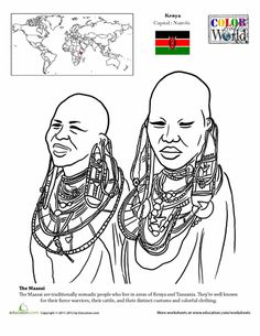Worksheets: Color the World! Maasai Geography Worksheets, Worksheets For Kids, Coloring Worksheets, World Thinking Day, World Geography, World History, Continents, Coloring Books, Coloring Pages