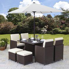 Rattan Cube Garden Furniture Set 8 seater outdoor wicker 9pcs with Parasol (Brown): Amazon.co.uk: Garden & Outdoors