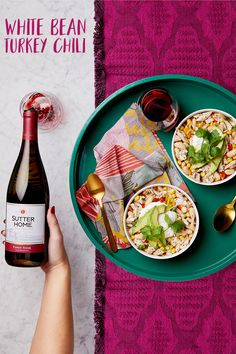 This white bean turkey chili paired with Sutter Home Pinot Noir warms you insideand out.