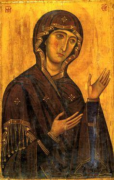 Maria Theotokos, c. Byzantine Hagiosoritissa icon in Mt. Madonna, Byzantine Icons, Byzantine Art, Religious Icons, Religious Art, Russian Icons, Art Icon, Orthodox Icons, Medieval Art