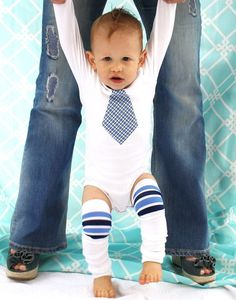 Tie onesie and leg warmers for baby boy---are the leg warmers too much for a boy? I think they're cute