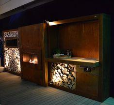 Zeno buitenkeuken op maat gemaakt met tuinhaard van Corten-A staal. #zenoproducts #buitenkeuken #tuin