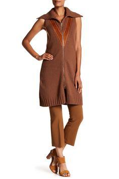 Knit Wool & Suede Sleeveless Tunic by DEREK LAM