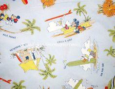 mi064 - 1 Yard Cotton Fabric - Disney Cartoon Characters, Mickey Mouse Hawaiian Holiday - Light Blue (W140). $10.00, via Etsy.