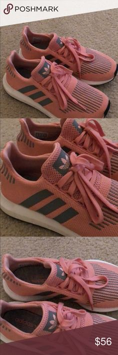 Adidas Swift Run Sneaker Adidas pink and grey like new sneakers. Only wore once or twice. Size 6. adidas Shoes Athletic Shoes