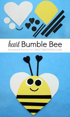 Heart Bee Valentine Day Craft for kids – Bee Mine! (Diy Baby Crafts) Heart Bee Valentine Day Craft for kids – Bee Mine! Valentine's Day Crafts For Kids, Daycare Crafts, Baby Crafts, Projects For Kids, Diy For Kids, Fun Crafts, Arts And Crafts, Art Projects, Paper Crafts Kids
